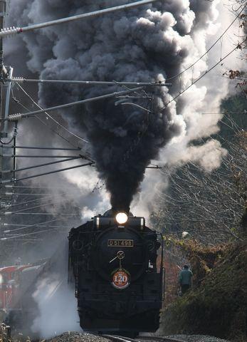 長野市豊野付近を走る「D51」  11月22日撮影