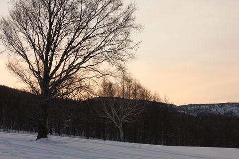 山の端に夕日沈み・・・